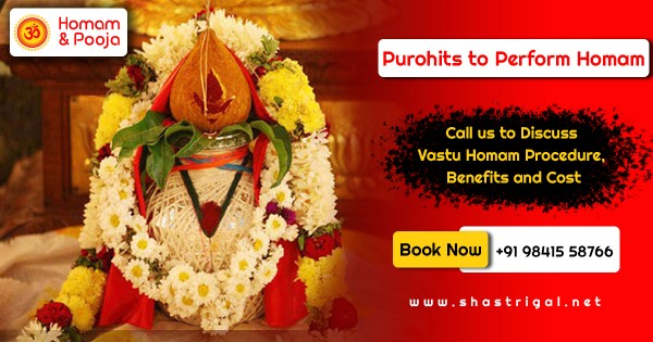 Book Vedic Pandit for Puja/Homam services in Chennai. Searching for a heavenly problem free puja experience? Proficient Vedic Priest. Bother Free Experience. Best Pandit ji or Purohits for Puja & Homam, according to Your Traditions. Territorial Purohits. Book pooja while sitting at your home.  http://www.shastrigal.net