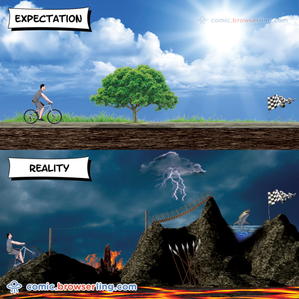 Expectation vs. reality.  For more Internet browser jokes visit https://comic.browserling.com. New jokes about IE, Edge, Firefox, Safari and Opera every week!